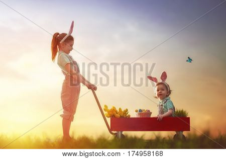 Two cute little children wear bunny ears and have Easter eggs. Girl carries her baby sister in kids wheel barrow in the rays of the setting sun.