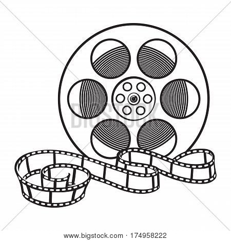 Classical motion picture, cinema film reel, sketch style black and white vector illustration isolated on white background. Hand drawn film reel, cinema object, footage material