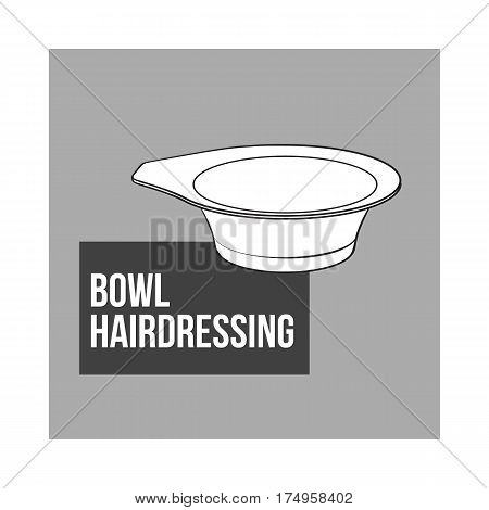Color mixing plastic hairdresser bowl, sketch style vector illustration isolated on grey background. Hairdresser bowl for color mixing, hair bleaching