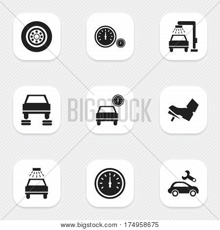 Set Of 9 Editable Traffic Icons. Includes Symbols Such As Treadle, Speed Control, Speedometer And More. Can Be Used For Web, Mobile, UI And Infographic Design.