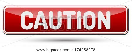 Caution - Abstract Beautiful Button With Text.
