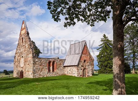 Ancient Roofless Church Ruins On A Beautiful Sunny Mid-summer Day In Finland