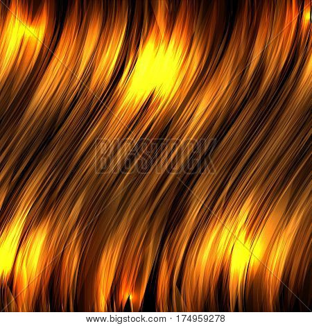Abstract background with gold luminous wavy lines on a dark background. Vector background for your creativity