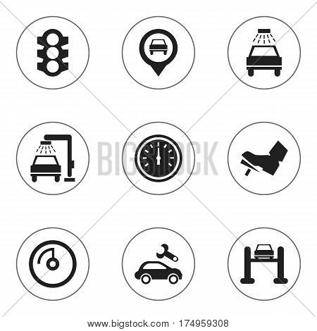 Set Of 9 Editable Car Icons. Includes Symbols Such As Speed Display, Treadle, Stoplight And More. Can Be Used For Web, Mobile, UI And Infographic Design.