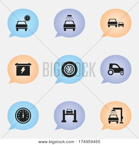 Set Of 9 Editable Vehicle Icons. Includes Symbols Such As Car Lave, Auto Service, Vehicle Car And More. Can Be Used For Web, Mobile, UI And Infographic Design.