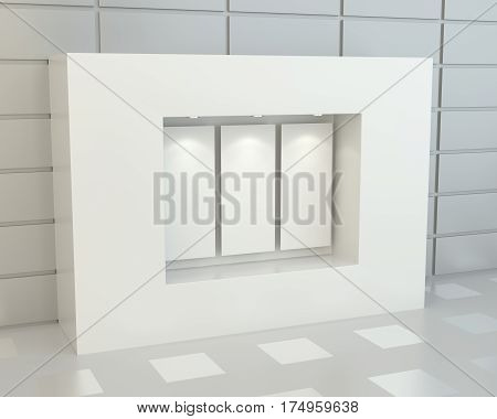 Blank white posters in showcase with illumination, 3D Rendering poster