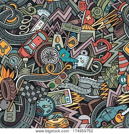 Cartoon cute doodles hand drawn Cars seamless pattern. Colorful detailed, with lots of objects background. Endless funny automobile vector illustration