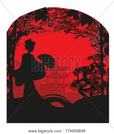 abstract landscape card with Asian girl , vector illustratrion
