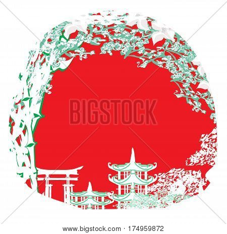 Asian Landscape with temple abstract  card , vector illustratrion