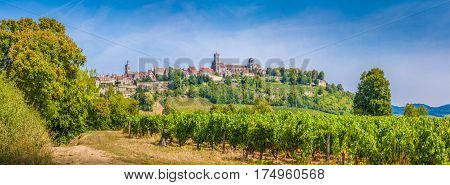 Historic Town Of Vezelay With Famous Abbey On Top Of Hill, Burgundy, France