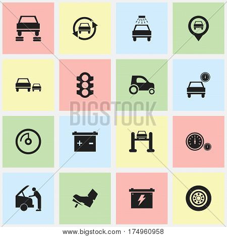 Set Of 16 Editable Traffic Icons. Includes Symbols Such As Stoplight, Car Fixing, Auto Service And More. Can Be Used For Web, Mobile, UI And Infographic Design.