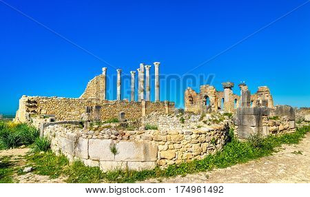 The Capitoline Temple and the Roman Basilica at Volubilis, a UNESCO heritage site in Morocco