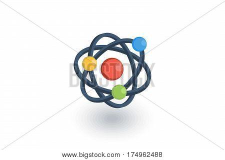 Atom, Physic Symbol isometric flat icon. 3d vector colorful illustration. Pictogram isolated on white background