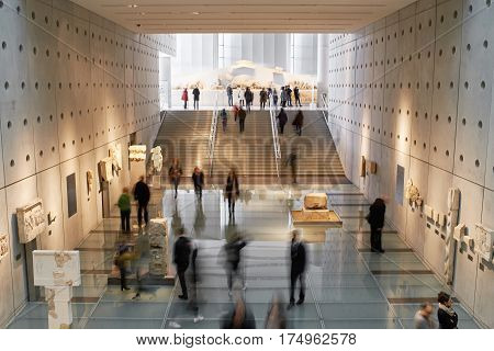ATHENS GREECE - DECEMBER 30 2016: Interior view of the Acropolis museum.