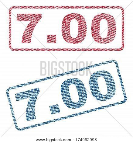 7.00 text textile seal stamp watermarks. Blue red fabric vectorized texture. Vector tag inside rounded rectangular shape. Rubber emblem with fiber textile structure.
