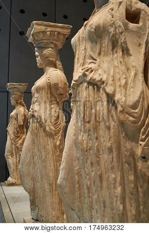 ATHENS GREECE - DECEMBER 30 2016: Statue of Caryatides in Acropolis museum.