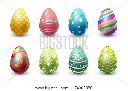 Easter eggs painted with spring pattern. Decoration retro multi colored collection. Vintage ornament organic food holiday game symbol vector illustration.