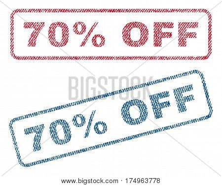 70 Percent Off text textile seal stamp watermarks. Blue red fabric vectorized texture. Vector tag inside rounded rectangular banner. Rubber sign with fiber textile structure.