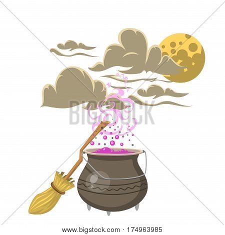 Special magic spell pot with broom trick symbol magician and surprise entertainment fantasy carnival mystery tools cartoon miracle decoration vector illustration. Fun witchcraft event sign.