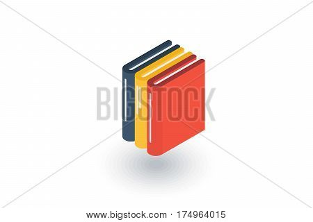 education book, library, literature isometric flat icon. 3d vector colorful illustration. Pictogram isolated on white background