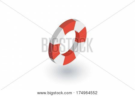 lifebuoy isometric flat icon. 3d vector colorful illustration. Pictogram isolated on white background