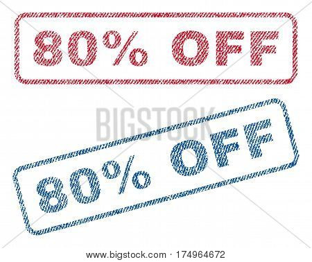 80 Percent Off text textile seal stamp watermarks. Blue red fabric vectorized texture. Vector tag inside rounded rectangular shape. Rubber sticker with fiber textile structure.