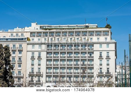 Athens Greece - March 5 2017: The historic Grande Bretagne hotel at Syntagma square in Athens on a sunny morning