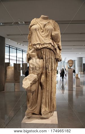 ATHENS GREECE - DECEMBER 30 2016: View of the Acropolis museum.