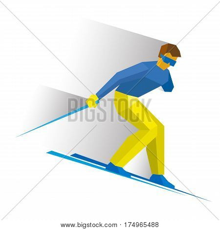 Para-alpine Skiing. Sportsman With Physical Disabilities Ski Slope Down