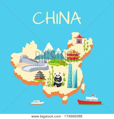China with its traditional elements signs on blue background. Vector illustration of panda near bamboo sticks, high mountains, great wall of China, extraordinary buildings on island and ships on water
