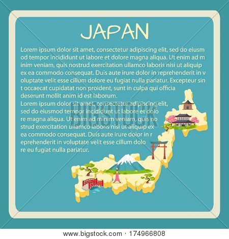 Japan framed touristic banner with sample text. Japaneses national, architectural, nature symbols on country map silhouette vector illustration. Vacation in asian country concept for travel company ad