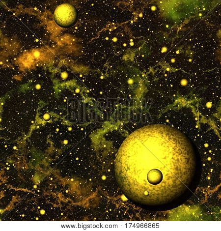 Abstract yellow universe with planets, Shiny nebula night starry sky, Golden outer space, Galactic texture background, Seamless illustration