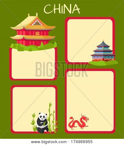 China poster with empty spaces for text and oriental signs on them. Vector green illustration of traditional eastern buildings, panda sitting near bamboo sticks and red dragon signs in light cards