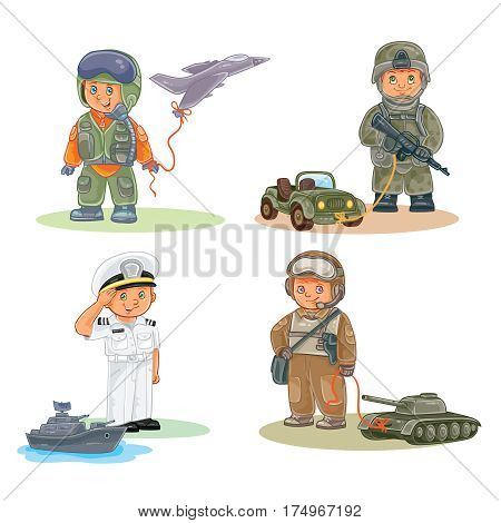 Set of icons of small children airman, soldier, sailor and tanker