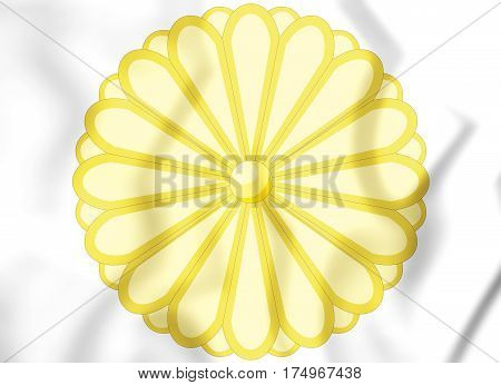 Japanese Imperial Seal (chrysanthemum Seal). 3D Illustration.