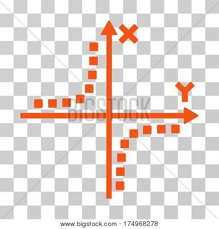 Hyperbola Plot icon. Vector illustration style is flat iconic symbol, orange color, transparent background. Designed for web and software interfaces.