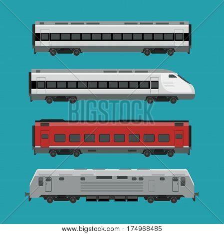 Passenger trains in flat style. Express train vector illustration.