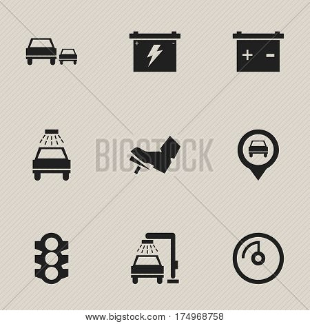 Set Of 9 Editable Vehicle Icons. Includes Symbols Such As Car Lave, Battery, Stoplight And More. Can Be Used For Web, Mobile, UI And Infographic Design.