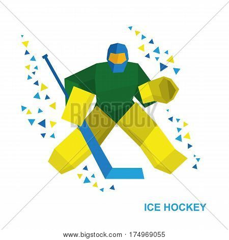 Cartoon Goalkeeper With Hockey Stick Catches The Puck