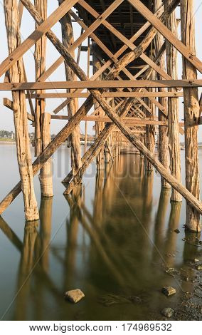 Detail of a U Bein Bridge over Taungthaman Lake in Myanmar