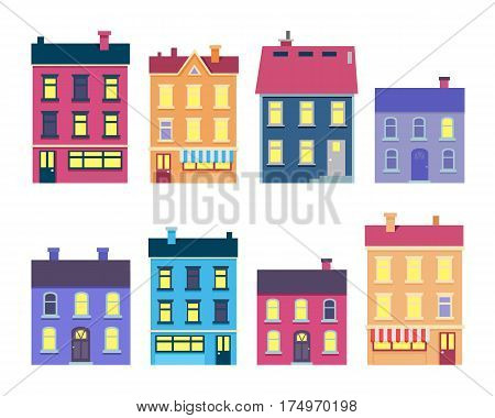 Collection of colourful Christmas buildings with lighted windows on white background. Vector poster of illustrations with different houses in shape, colour and size. Decorated architecture in town