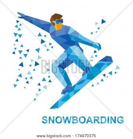 Winter Sports - Snowboarding. Cartoon Snowboarder During A Jump.