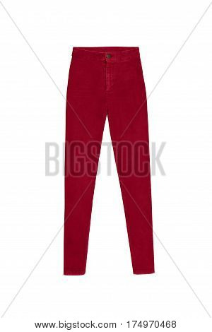Red Skinny High Waist Jeans Pants, Isolated On White Background