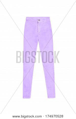 Lavender Purple High Waist Skinny Jeans, Isolated On White Background