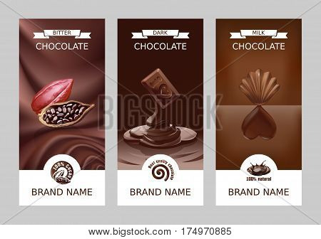 Set realistic vertical banners with milk, dark and bitter chocolate