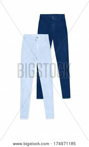 Two High Waist Skinny Jeans Pants, Isolated On White Background