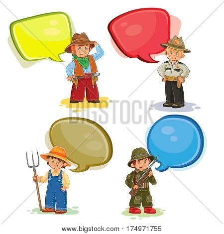 Set of icons of small children cowboy, sheriff, farmer, soldier with speech bubbles