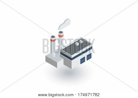 manufacture, industrial building isometric flat icon. 3d vector colorful illustration. Pictogram isolated on white background