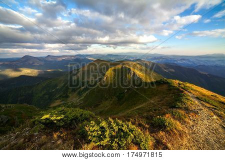 A view of the beautiful mountains at sunset. Climbing Mount Pop Ivan in the Ukrainian Carpathians. Summer sunny day. Ukrainian nature of the beautiful places of the country.