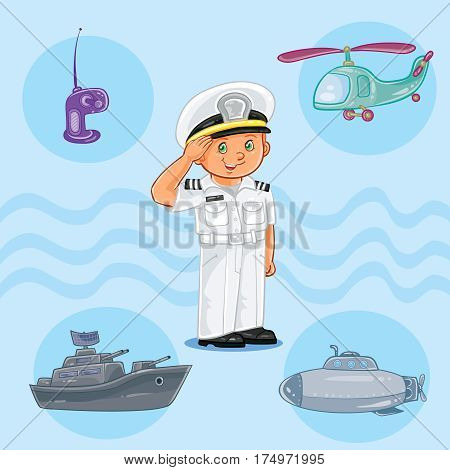 illustration of a little boy seaman with a warship, submarine and helicopter